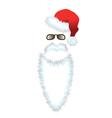 Red santa claus hat beard and glasses vector