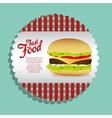 Label burger on a blue background vector