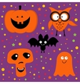 Halloween set with pumpkin owl bat ghost and skull vector