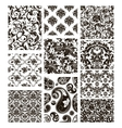 Set of ten patterns black silhouettes vector