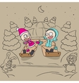 Lovers girl and boy on a sled vector