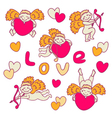 Set of cheerful cupid for valentines day vector
