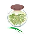 A jar of pandan tea with pandan leaves vector