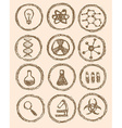Sketch chemical icons in vintage style vector