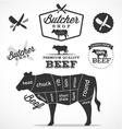 Beef cuts diagram and butchery design elements vector