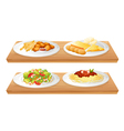 Two wooden trays with four plates full of foods vector