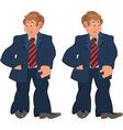 Happy cartoon man standing in striped tie vector