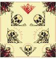 Skull and rose frames set 01 vector