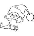 Baby boy santa cartoon coloring page vector