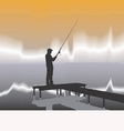 Fisherman on a pier vector