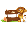 A lion standing beside a wooden signage vector