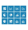 Line chart and diagram icons on blue background vector