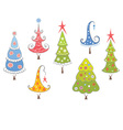 Funny collection of christmas trees vector