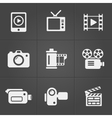Video icons over black background vector