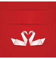 Origami swans on red background vector