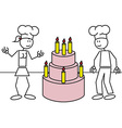 Stick figures cake vector