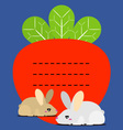 Cute little bunny and carrots recipe note vector