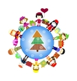 Christmas kids background children in planet vector