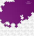 Abstract white group puzzle with violet background vector