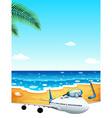 A passenger plane at the beach vector
