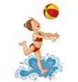 Cute little girl with beach ball vector