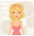 Pretty blond in pink lingerie vector