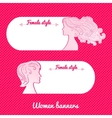 Two beautiful female romantic banner vector