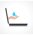 Hand holding water drops comes from laptop screen vector