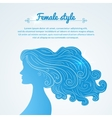 Female profile with long hair and space for text vector