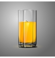 Realistic orange juice glass with ice transparent vector