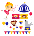Fun circus icons vector