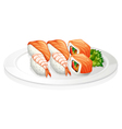 A plate full of sushi vector