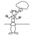 Stick figure female thinking vector