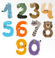 Numbers like european forest animals vector