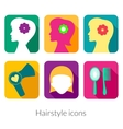 Hairstyle rectangular icons with rounded corners vector