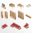 Isometric wooden furniture for living room vector