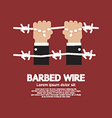 Barbed wire with hand vector