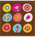 Collection of cute decorative flowers greeting car vector