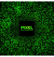 Abstract pixel green bright glow background vector