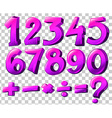 Numbers in pink color vector