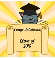 Greeting card with a character and congratulations vector