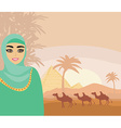 Arabian woman in the desert vector