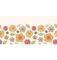 Warm fall lineart flowers horizontal border vector