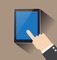 Hand of businessman touching blank screen table vector