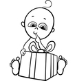 Baby boy with gift for coloring book vector