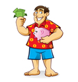 Fat man with piggy bank vector