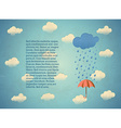 Aged card with rainy cloud and umbrella vector