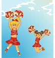 Cartoon background with cheerleaders vector
