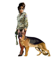 Woman cynologist with dog sheepdog vector