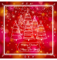 Red background with forest of christmas trees vector